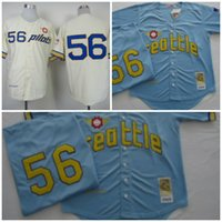 Wholesale Light Blue Shirt Men - Men's Seattle Pilots Jerseys #56 Jim Bouton Shirt 1969 Cream Light blue Throwback Stitched Baseball Jerseys Size M-XXXL