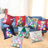Wholesale Light Up Pillows - Christmas Tree Flashing Pillow Case 45*45cm LED Light Pillows Cushion Cover Light Up Pillowcase Car Home Sofa Christmas festival Decoration