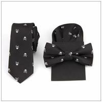 Wholesale Ties Hankies - tie bow tie handkerchief set print skull hanky pocket square polyester handkerchief bowknot handkie wedding red black blue