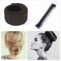 Wholesale magic wigs resale online - Women Bun Band Hair Curler Wig Donuts Hair Band French Magic Bun Maker for Bride Fashion Girls