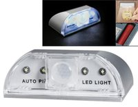 Wholesale Pir Detector Wireless - Auto PIR Wireless Home Door Keyhole Light Lamp Motion Sensor Detector LED Light 4 Leds Sensor Motion Lamp Night Light DHL free shipping