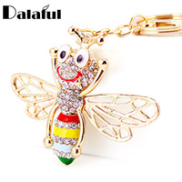 Wholesale Tin Cover - Enamel Cute Bee Crystal Keyrings cover Key Chains Holder For Car Purse Bag Pendant Buckle Best Gift Keychains K246