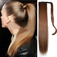 "Wholesale Top Piece Clip Extensions - Wholesale-Hot 1PC 60CM 26"" Ponytail Clip In Pony Tail Hair Extensions Wrap on Hair Piece Straight Style 100% Top Quality Ponytails"