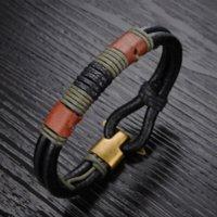 Wholesale Vintage Bracelet Bangle - Vintage Stainless Steel Men Bracelet cool PU leather Bracelets Bangles for men nice style charm 859
