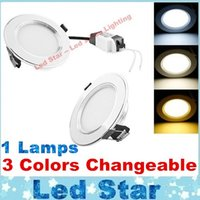 Wholesale acryl colors - Newest Changeable Led Downlights (3 Colors In 1 Lamp ) Ultra Thin Led Down Lights 3W 5W 7W 9W Led Recessed Lights AC 110-240V