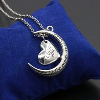 Wholesale Resin Chain Necklace Europe - Chain Necklace Wholesale Europe Hot Sale I Love You To The Moon And Back Moon Heart Necklace With Pendant Silver Plated Pendants Necklaces