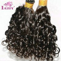 Wholesale I Tip Hair Extension Curly - LUFFY Virgin Brazilian Pre-bonded I Tip Hair Extension Human Hair Loose Curly Extensions Wavy I Tip 1g s 100s Natural Color