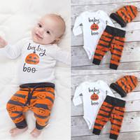 Wholesale 3pcs Romper - Ins Halloween baby clothing sets Outfits Pumpkin romper + pant Hat 3pcs set Infants clothing 2017 Autumn Winter 100%cotton 0-24months