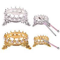 Wholesale Crown Pearl Pen - Crown Design Nail Art Pens Brushs Stand Rack Pearls Decoration Salon Home DIY Manicure Nail Carving Drawing Pens Brushes Holder