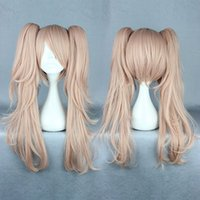 Wholesale Pink Ponytail Wig Long - Wholesale-Quality Girls Long Curly Pink Manga Super Danganronpa 2 Cosplay Junko Enoshima Wig Ponytails
