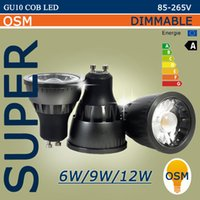 Super GU10 LED COB Spotlight Dimmable 6w 9w 12w LED COB Spotlight Downlight Ampoules Lampe теплый белый / белый 85-265v