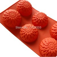moldes de girassol de silicone venda por atacado-100 pçs / lote venda fábrica silicone moldes de sabão seis retalhos de geléia de girassol pudim molde molde do bolo # DG51