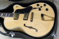 Custom Shop L5  Semi Hollow Body Natural Jazz Acoustic Electric Guitar Flame Maple Back & Side, Gold Hardware