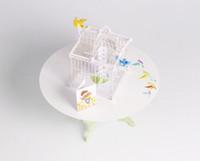 ingrosso pop felice-New Birdcage Laser Cut 3D pop-up carta taglio laser artigianato display personalizzati fatti a mano Greeting Cards Buon compleanno regali cartoline