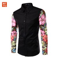 Wholesale Dress Long Arm - Wholesale-Men Shirts Long Sleeve 2016 brand clothing Contrast Color Arm Spliced Floral Mens Luxury Casual Shirts chemise homme