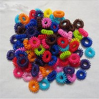 Wholesale Hair Band For Wigs - Wholesale 10pcs lot Women Girl Telephone Line Hair Gum Cord Bobble Traceless Elastic Ponytail Holders Hair Band Ring Scrunchy Gum For Hair