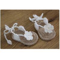 ingrosso maglieria a mano fatta a mano-neonata Scarpe bambino Crochet Handmade lana uncinetto Knit morbido fondo estivo per bambini scarpe 6-12M chaussure bebe fille