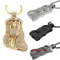"Wholesale Cross Necklaces Black Rope - 2016 New Iced Out JESUS Face Pendants with 32"" Franco Rope Chain HipHop Style Necklace Gold silver Plating Hip hop jewelry Necklace"