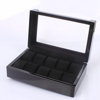 Wholesale glass top display cases resale online - Wooden Slots Watch Box Leather Display Case Organizer Top Glass Jewelry Storage Black High Quality