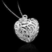Wholesale Empty Heart Pendant - 925 sterling silver pendant jewelry 2016 charms empty heart frame pendant necklace women big link chain necklace