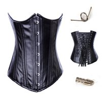 Wholesale Cheap Ladies Corsets - Cheap sell Sexy Floral Black leather Strapless Corset Sexy skirt Bustiers Floral Print Lady Best Body Shaper Corsets Gothic Lacing Shapewear