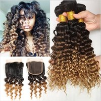 Wholesale Dyed Virgin Deep Weave - 9A Malaysian Virgin Ombre 3Bundles With Lace Closure 4Pcs Lot 1B 4 27 Honey Blonde Three Tone Malaysian Deep Curly Hair With Closure