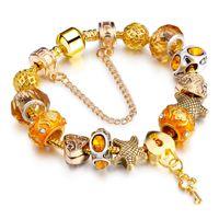 Wholesale Diy Glass Bangles - hot sale fashion jewelry rose gold diy bangle fashion copper Austria crystal glass beaded charm bracelets