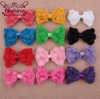 """Wholesale Kids Roses Tulle - Nishine 3.2"""" Mesh Tulle Fabric Rosset Bow For Headwear Chiffion Rose Flower Bows For DIY Kids Hair Clips Accessory"""