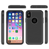 Wholesale armor tire - for Iphone X Case Hybrid TPU Tire Pattern Armor Silicone Rubber Hard TPU PC Case for Samsung Galaxy Note Hard Back Cover Impact Stent