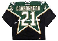 Commercio all'ingrosso personalizzato Throwback Mens GUY CARBONNEAU Dallas Stars 1999 CCM Throwback Away Cheap Retro Hockey Jersey