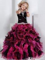 Piuttosto nero   Fuchsia Organza cinghie Perline Flower Girl Dress Abiti  pageant della ragazza Principessa Holiday Skirt Formato personalizzato 2-14  H907036 3a669c3ad80