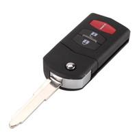 чехлы для ключей от mazda оптовых-Новый 2 +1 3 кнопки флип складной дистанционный ключ оболочки автомобиля чехол брелок для Mazda 3 5 6 CX5 CX7 CX9 RX8 с логотипом
