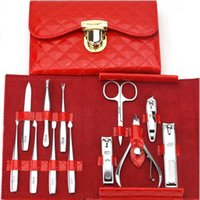 Wholesale Nail Art Case Set - 12Pc Nail Art Manicure Set Nail Care Tool With Nailb Cutter Clippers Scissor Tweezers With Leather Case