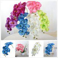 Wholesale Decor Butterflies Weddings - Artificial Butterfly Orchid Silk Flower Home Wedding Party Phalaenopsis Decor E00303