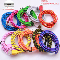 Wholesale Cable Fabric Iphone Charger - Fabric Nylon 1M 2M 3M Braided Charger USB Sync Data Charging Charger Cable Cord Good Wire Line for Phone Samsung S6 S7 HTC Android IPhone