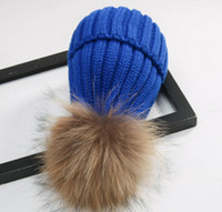 Wholesale mink beanie hat resale online - Quality Removable Real Mink Fox Fur Pom Poms Ball Acrylic Beanies Winter Warm Plain Hats Adults Slouchy Mens Womens Snow Warm Hat Free EMS