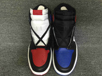 Wholesale mens suede summer breathable shoe online - 2018 NEW Top quality High OG Top black men basketball shoes mens sports shoes red blue sneakers size