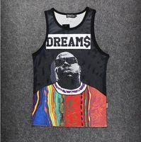 Wholesale Biggie Tank Top - Wholesale-men women's tank top DREAMS print vest street hip hop BIGGIE tank tops men fitness summer clothing casual sports tee