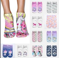 Wholesale Food Cartoons - 3D Print Unicorn Women Ankle Socks Clothing Accessories Casual Socks unicorn cartoon Animal food print Hip Hop Socks KKA2821
