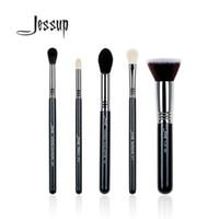 Wholesale High Quality Kabuki - Jessup 5pcs High Quality Pro Makeup Brush Set Kabuki Foundation Blend Contour Eye Shadow Highlighter Make Up Tools Kits T125