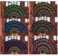 Wholesale Plastic Folding Fans - 11 Colors Wholesale Chinese Crafts Sequins Hand Held Folding Fans Wedding Party Gift