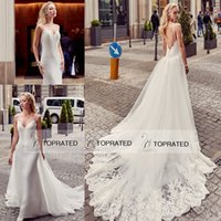 Wholesale Cheap White Peplum Skirts - Eddy K 2017 Two Pieces 2 in 1 Style Mermaid Sexy Wedding Dresses with Removable Peplum Chapel Train Overskirt Cheap African Bridal Gowns