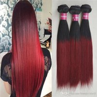 Nature ^ Hair Brading Bulk with Strong Weft 3 Pieces Two Tone Human * Bundle 1B / 99j Red Ombre Brazilian Straight Weave Borgonha 3,4,5pcs / lot