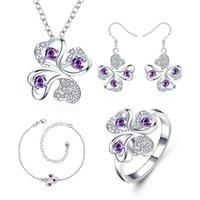 Wholesale sterling leaf - Fashion 925 silver Four Leaf Flower necklace bracelet earring ring a famliy of four jewelry sets STSS034B sterling silver purple gemstone