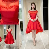 Wholesale Elegant Scooped Back Cocktail Dress - Elegant Scoop Red Party Dress Short Sleeve Lace Back Satin Knee-length Homecoming Cocktail Evening Prom Dresses