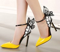 Butterfly Wings Oco Sandálias de salto alto Sexy Stiletto Amarelo Sapatos Pointed Toe Cheap For Women