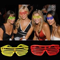 Simples óculos El Wire Moda Neon LED Light Up Shutter Shaped Glow Óculos de sol Rave Costume Party DJ Bright SunGlasses OTH055