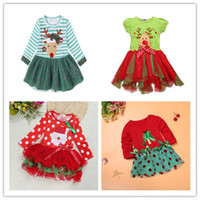 Baby Girls Christmas Elk Dress SPARTY Cosplay Costume Princess Deer Elk Dress Stripe Long Sleeve Tulle Bow Bubble Юбка 008 #