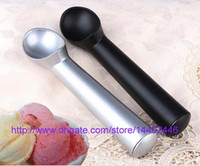Wholesale Stick Stack - 500pcs 18cm Aluminium Alloy Ice Cream Scoop Spoon Spoons Black Silver Colors Dipper Handle Nonstick Anti Freeze Non Stick