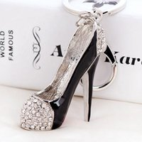 Wholesale Wholesale High Heel Shoe Keyring - 3D Shoes Keys Holder Keychains Novelty High-heel Shoe Key Chains Purse Handbag Charms Rhinestone Decor Sandal Keyring Jewelry Gifts